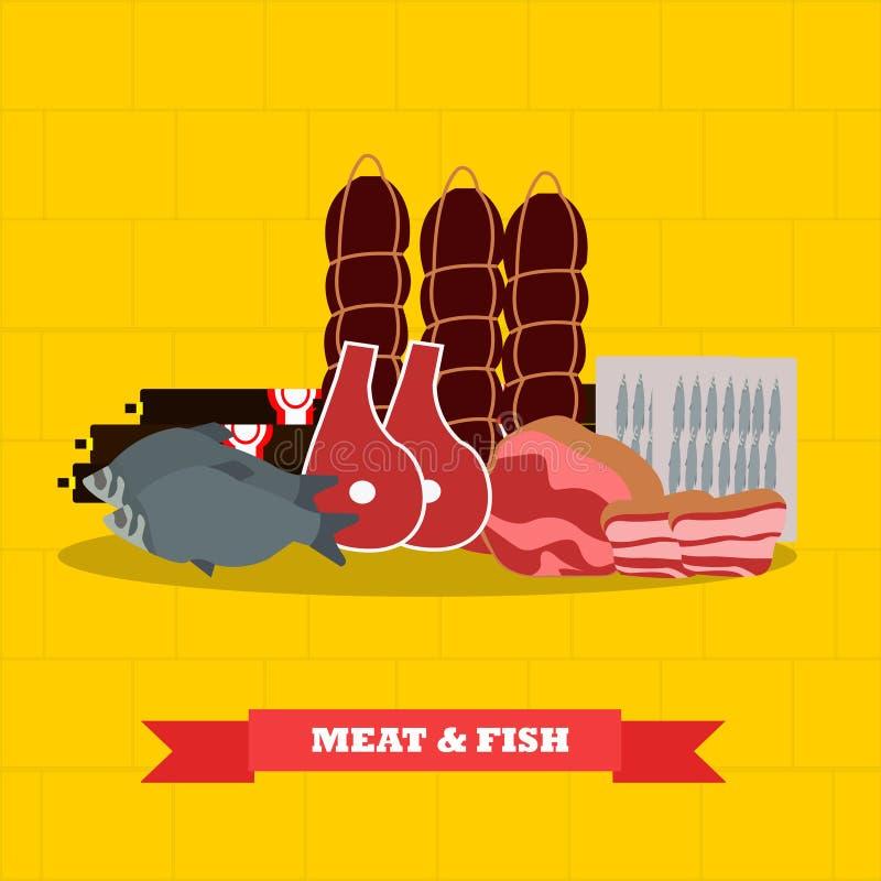 Mięsa i ryba artykułów żywnościowy wektorowa ilustracja w mieszkanie stylu projekcie royalty ilustracja