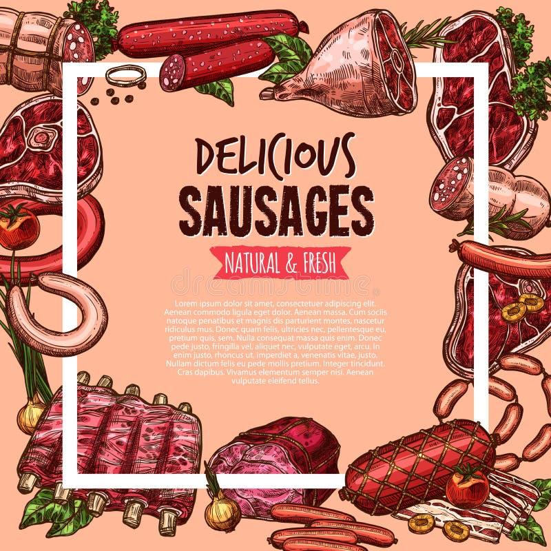 Mięsa, wołowiny i wieprzowiny kiełbasy plakat, karmowy projekt ilustracji