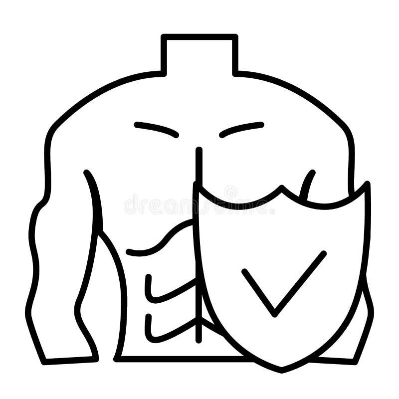Mięsień osłony i mężczyzna cienka kreskowa ikona Męskiego ciała ochrony wektorowa ilustracja odizolowywająca na bielu Facet osłon royalty ilustracja