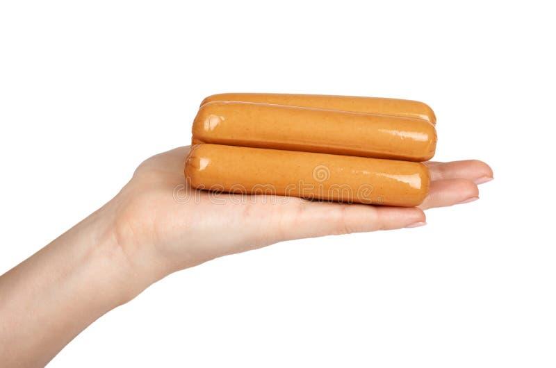 Mięsna kiełbasa dla hot dog lub grill w ręce pojedynczy białe tło Fasta Food posiłek obraz royalty free