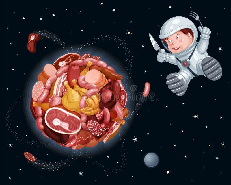 Mięsna planeta w przestrzeni, głodny astronauta lata wokoło ona z rozwidleniem i nożem ilustracja wektor