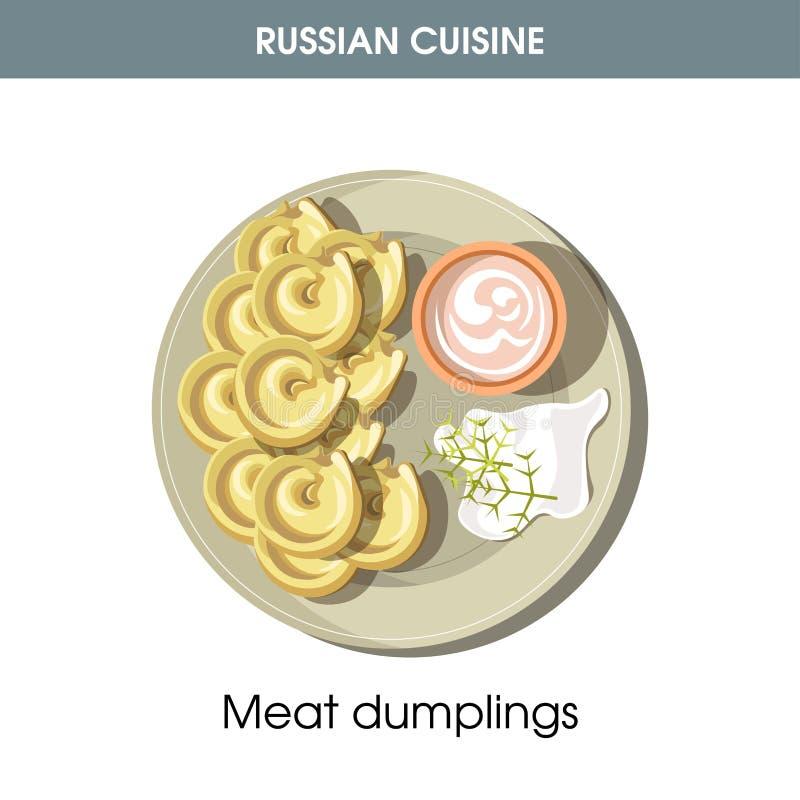 Mięsne kluchy z kwaśną śmietanką od Rosyjskiej kuchni ilustracji