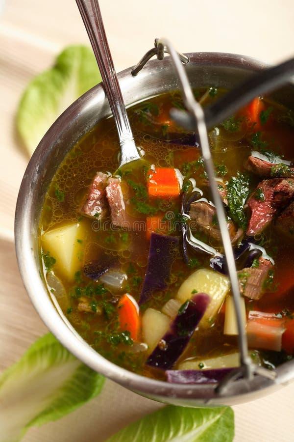 mięsne warzywa zupni statków zdjęcia royalty free