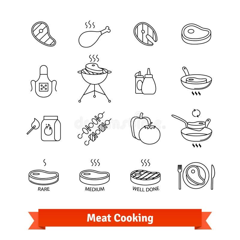 Mięsnego kucharstwa kreskowej sztuki cienkie ikony ustawiać royalty ilustracja