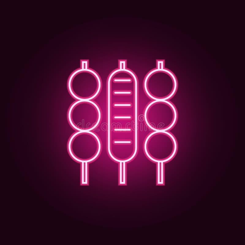 Mięsnego skewer neonowa ikona r Prosta ikona dla stron internetowych, sie? projekt, mobilny app, ewidencyjne grafika royalty ilustracja