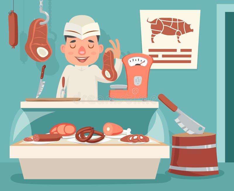 Mięsnego sklepu kontuaru masarki sprzedawcy rocznika postać z kreskówki ikony tła projekta wektoru Retro ilustracja royalty ilustracja