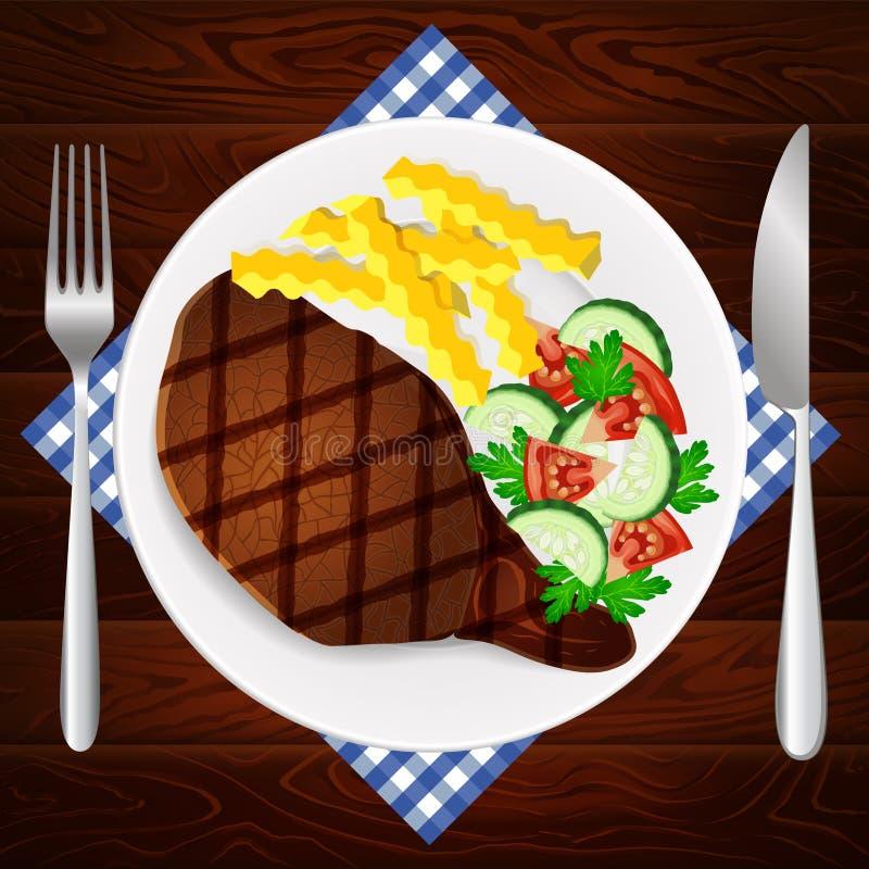 Mięsnego stku dłoniaka sałatkowego francuskiego talerza drewniany stół ilustracji