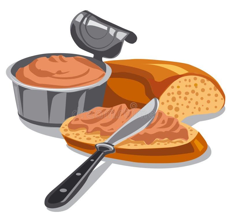 Mięsny łeb na pokrojonym chlebie royalty ilustracja