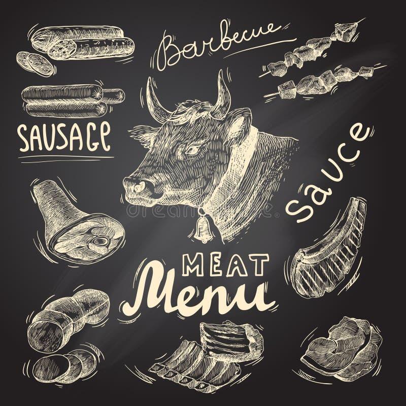 Mięsny chalkboard set royalty ilustracja
