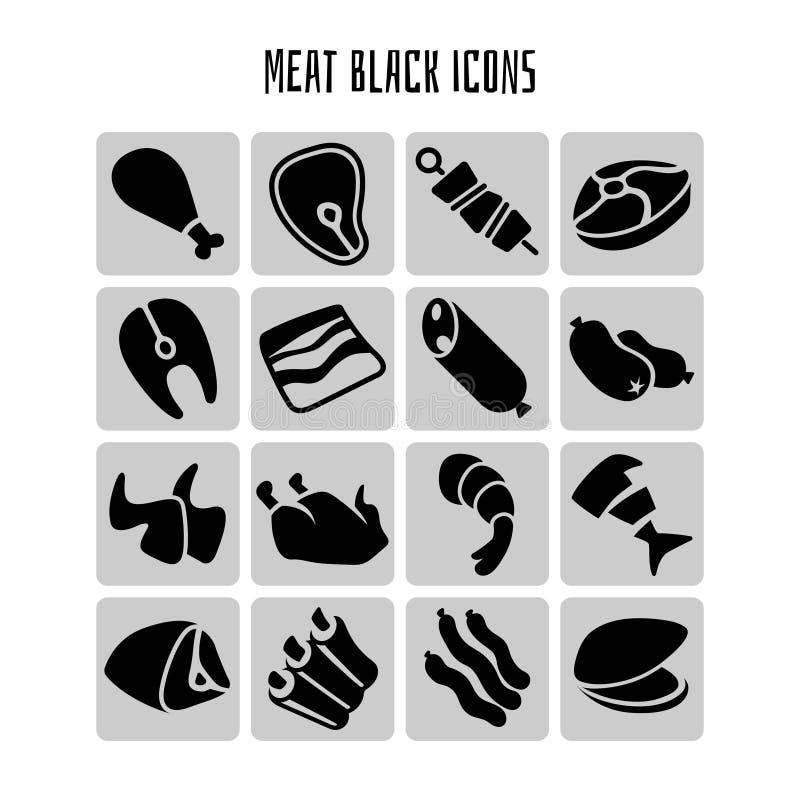 Mięsny czarny ikona wektoru set ilustracji