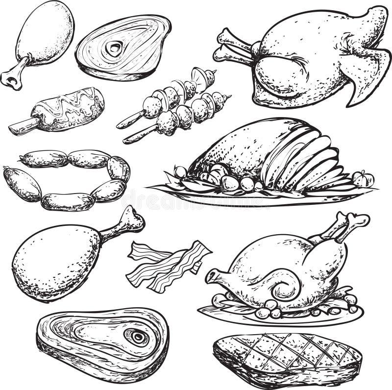 Mięsny Doodle ilustracja wektor