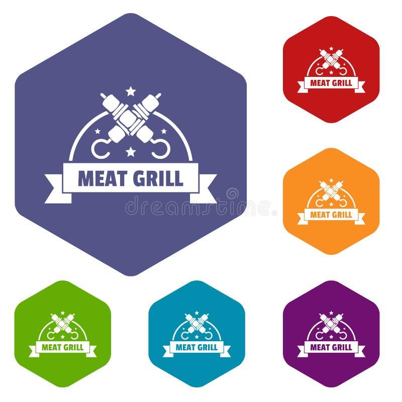 Mięsny grill ikon wektoru sześciobok ilustracji