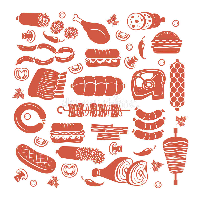 Mięsny ikona set royalty ilustracja