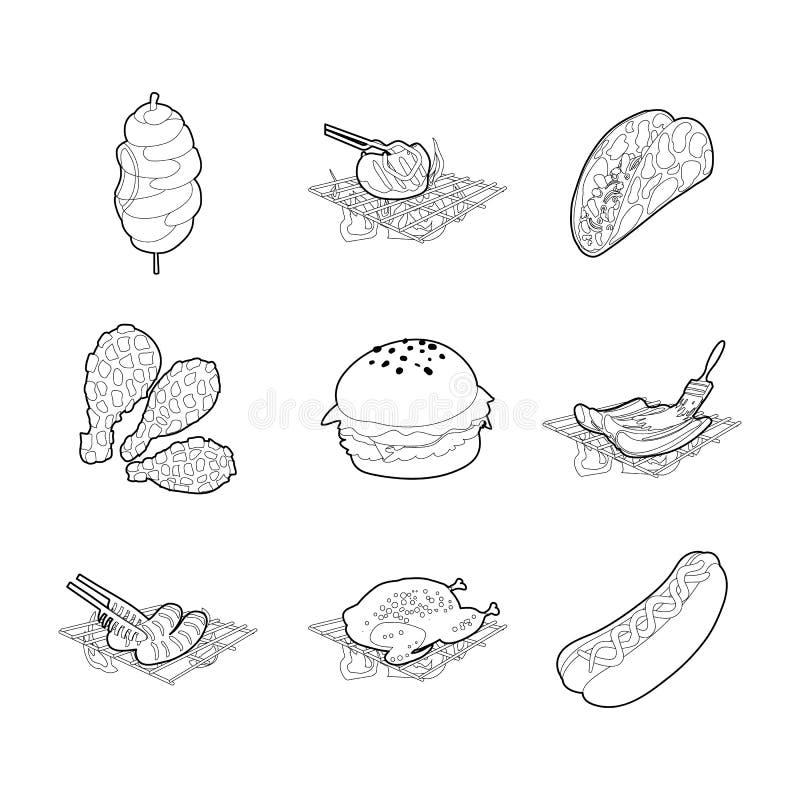 Mięsny karmowy ikona set, konturu styl ilustracji