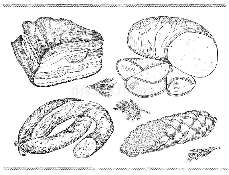 Mięsny kiełbasa set royalty ilustracja