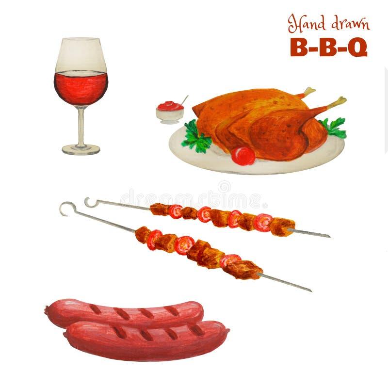 Mięsny kolorowy set Przygotowywam zrobił grillów produktom odizolowywającym na bielu Pociągany ręcznie szkło wino, piec na grillu ilustracji