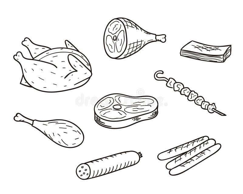 Mięsny nakreślenie set royalty ilustracja