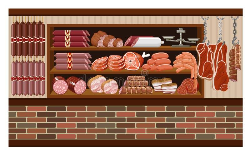 Mięsny rynek. ilustracji