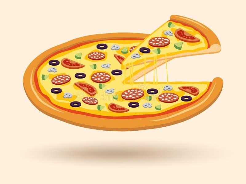 Mięsny serowej pizzy symbol ilustracji