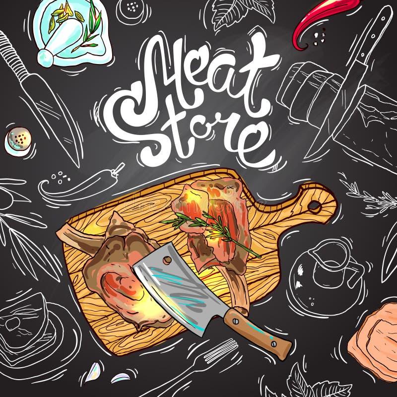Mięsny sklep royalty ilustracja