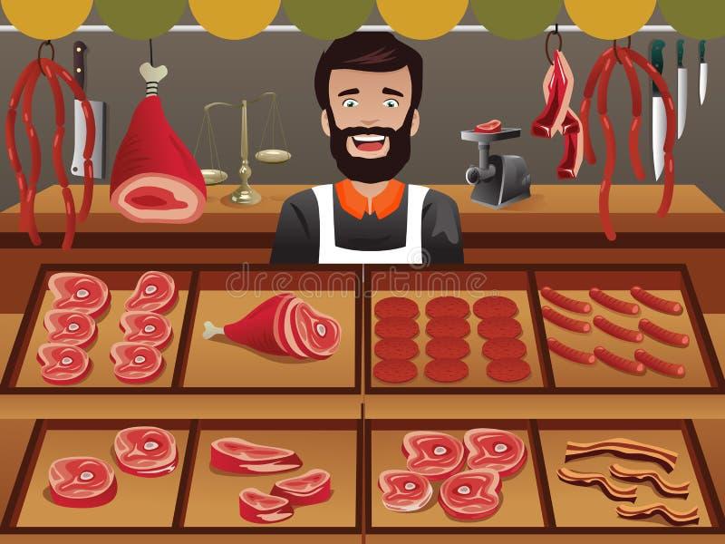 Mięsny sprzedawca w średniorolnym rynku ilustracji
