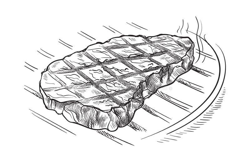 Mięsny stek na grillu odizolowywającym na białym tle royalty ilustracja