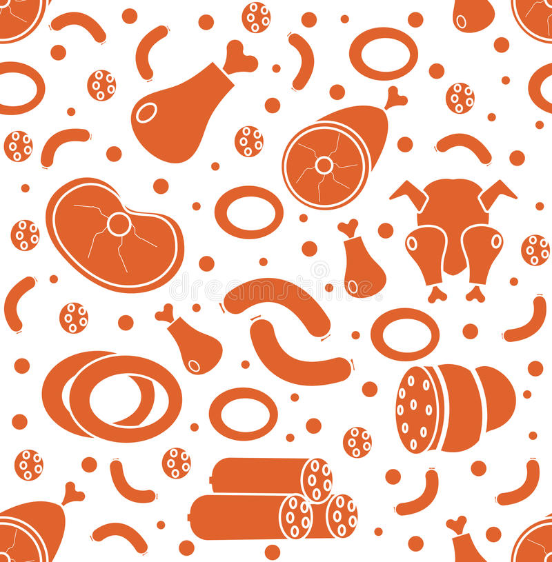 Mięsnych produktów bezszwowy wzór, mieszkanie styl Mięsa i kiełbasiany niekończący się tło, tekstura również zwrócić corel ilustr ilustracji