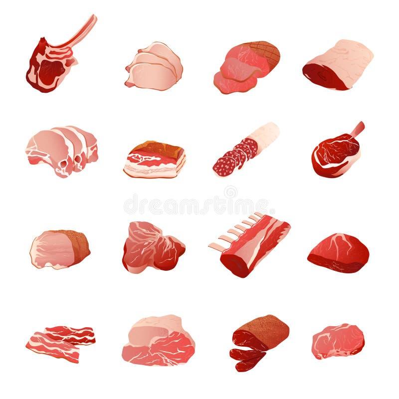 Mięsnych produktów ikony Ustawiać royalty ilustracja
