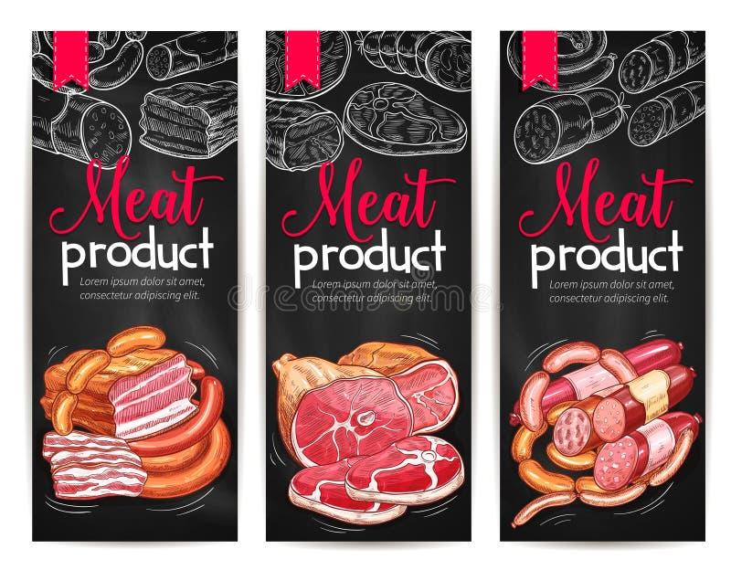 Mięsnych produktów sztandarów garmażeryjny wektorowy nakreślenie royalty ilustracja