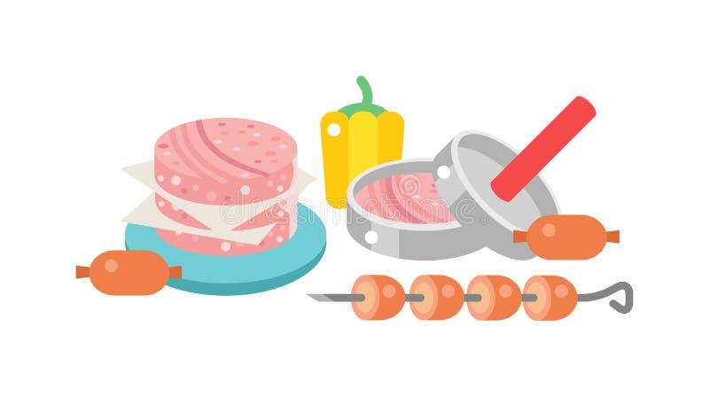 Mięsnych produktów wektoru ilustracja royalty ilustracja
