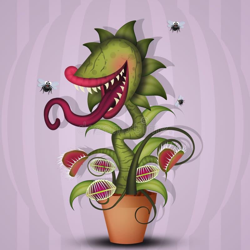 Mięsożerna roślina i komarnicy royalty ilustracja