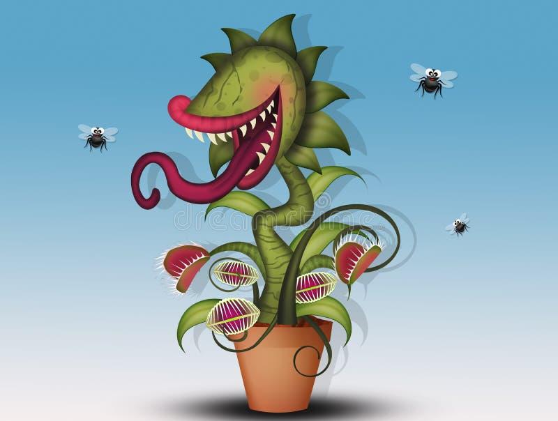 Mięsożerna roślina je komarnicy ilustracji