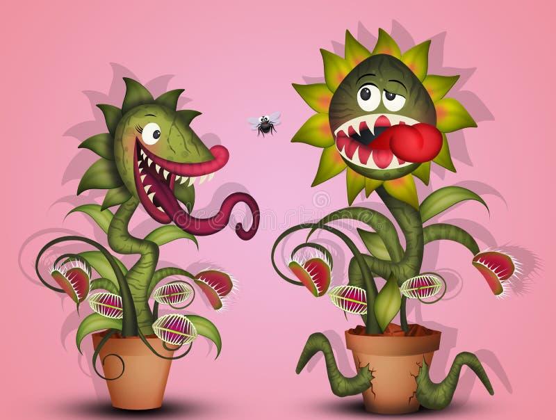 Mięsożerne rośliny i komarnicy royalty ilustracja