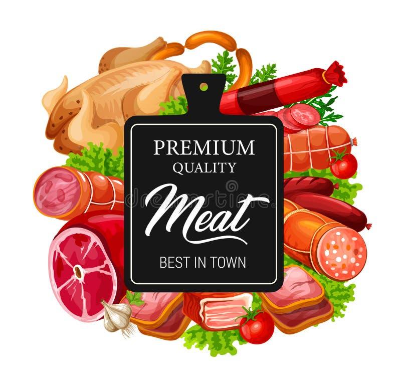 Mięso, kiełbasy, wołowina, wieprzowina i kurczak z ziele, ilustracja wektor