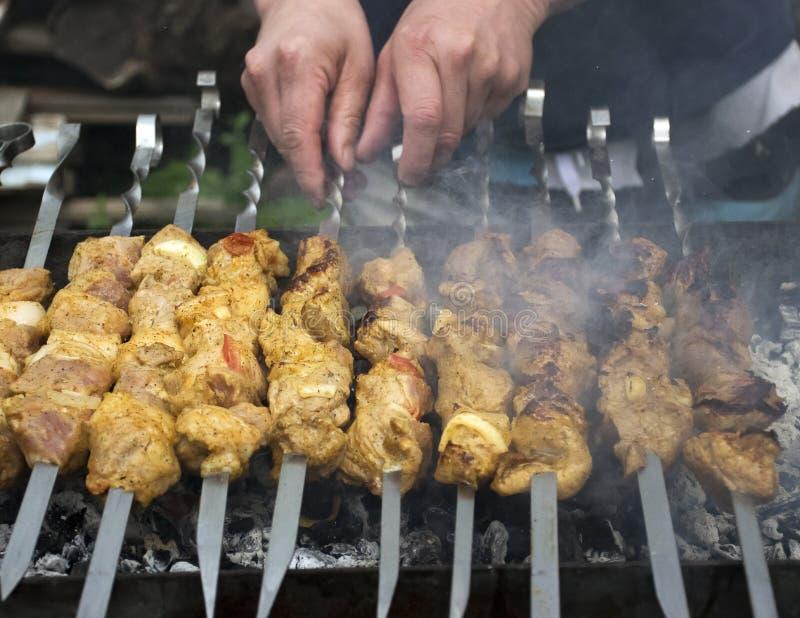 Mięso kucharzi na gorących węglach w dymu Pinkin w naturze zdjęcia royalty free