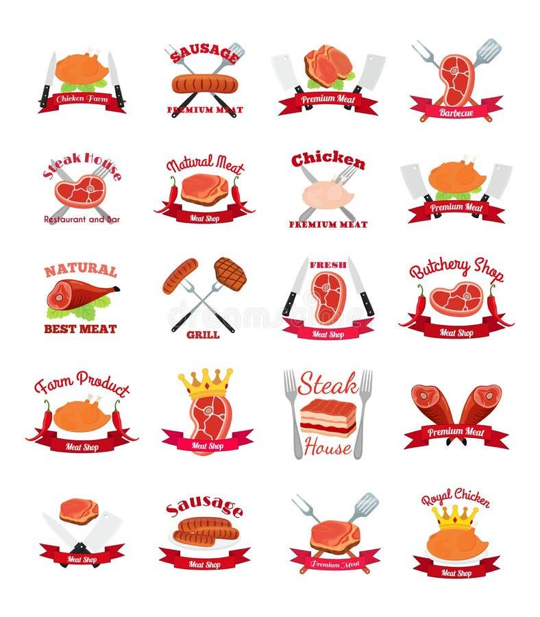 Mięso, kurczak, kiełbasiane etykietki pakuje - logo dla rynku, robi zakupy, uprawia ziemię, ilustracja wektor