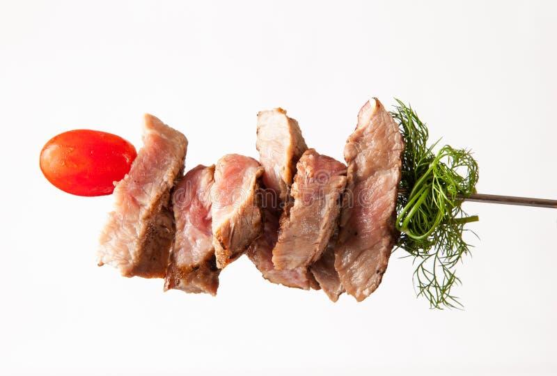 Mięso na mierzei na bielu fotografia royalty free
