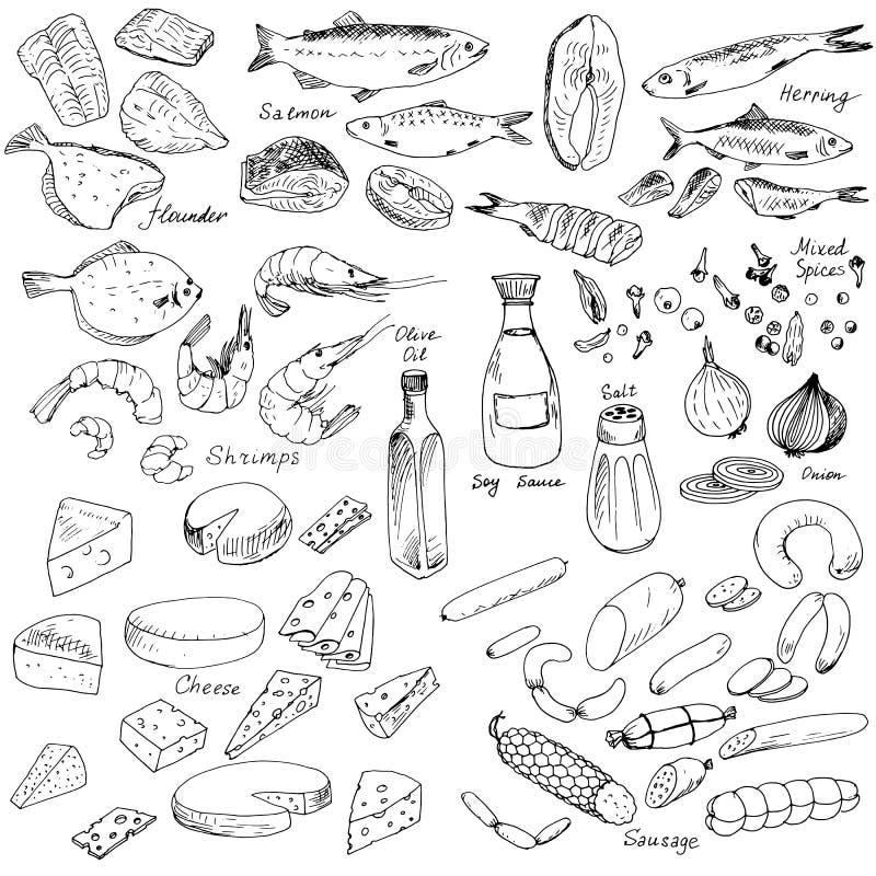 Mięso, ryba i ser, jedzenie set ilustracji