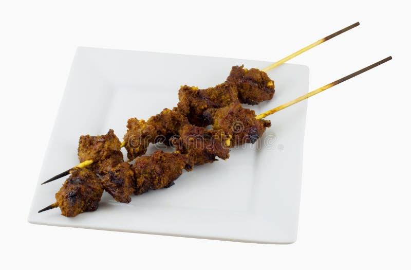 mięso satay przebić człowieka obrazy stock