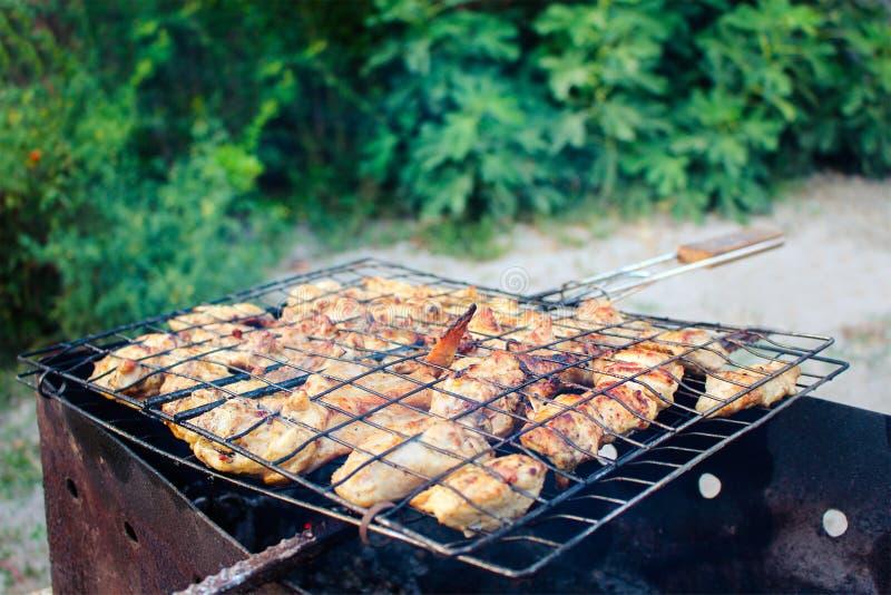 Mięso smaży przy stosem obraz stock