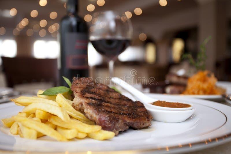 Mięso, wino, restourant zdjęcia royalty free