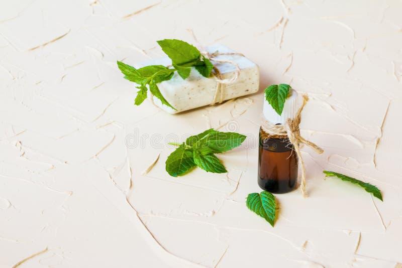 Miętówka istotny olej w szklanej butelce na lekkim stole Używać w medycynie, kosmetykach i aromatherapy, fotografia stock
