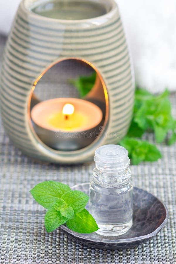 Miętówka istotny olej w szkle na szarość matuje z zdroju tłem zdjęcia royalty free