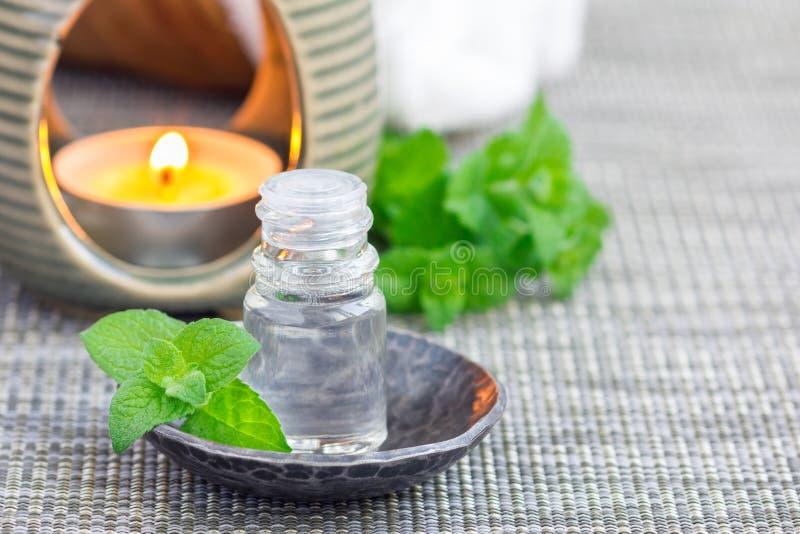 Miętówka istotny olej w szkle na szarość matuje z zdroju tłem, kopii przestrzeń zdjęcie royalty free