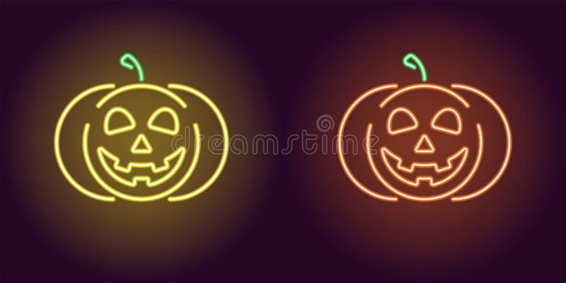 Miła neonowa bania w kolorze żółtym i pomarańczowym kolorze ilustracja wektor