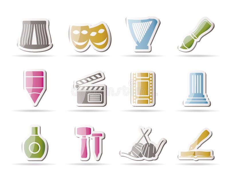 miłe różne sztuk ikony ilustracja wektor