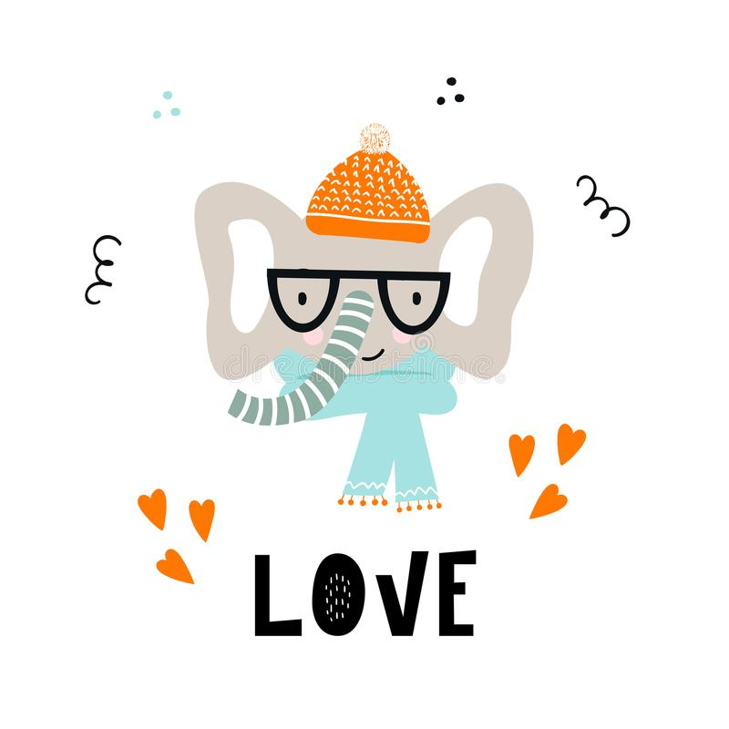 Miłość - Śliczna ręka rysujący pepiniera plakat z chłodno słonia zwierzęciem z ręka rysującym literowaniem i z szkłami i kapelusz royalty ilustracja