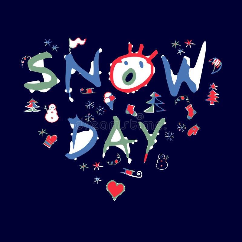 Miłość śniegu dzień royalty ilustracja