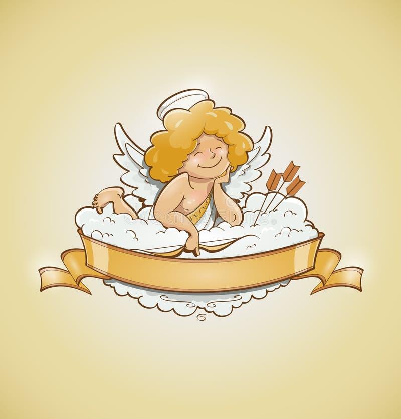 Miłość anioła amorek dla valentines dnia ilustracji