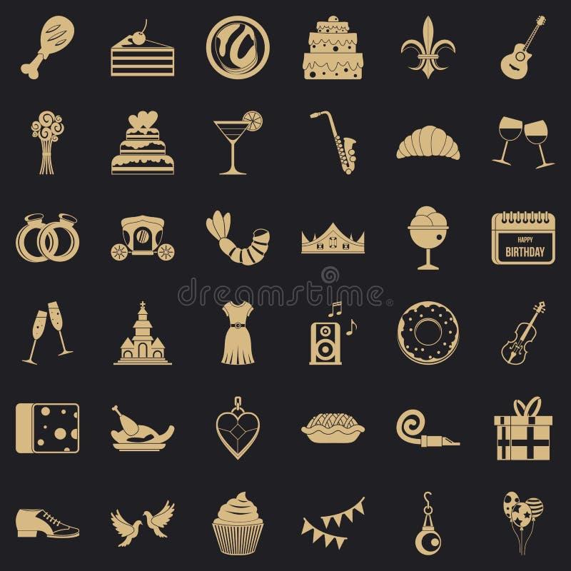 Miłość bankieta ikony ustawiać, prosty styl ilustracja wektor